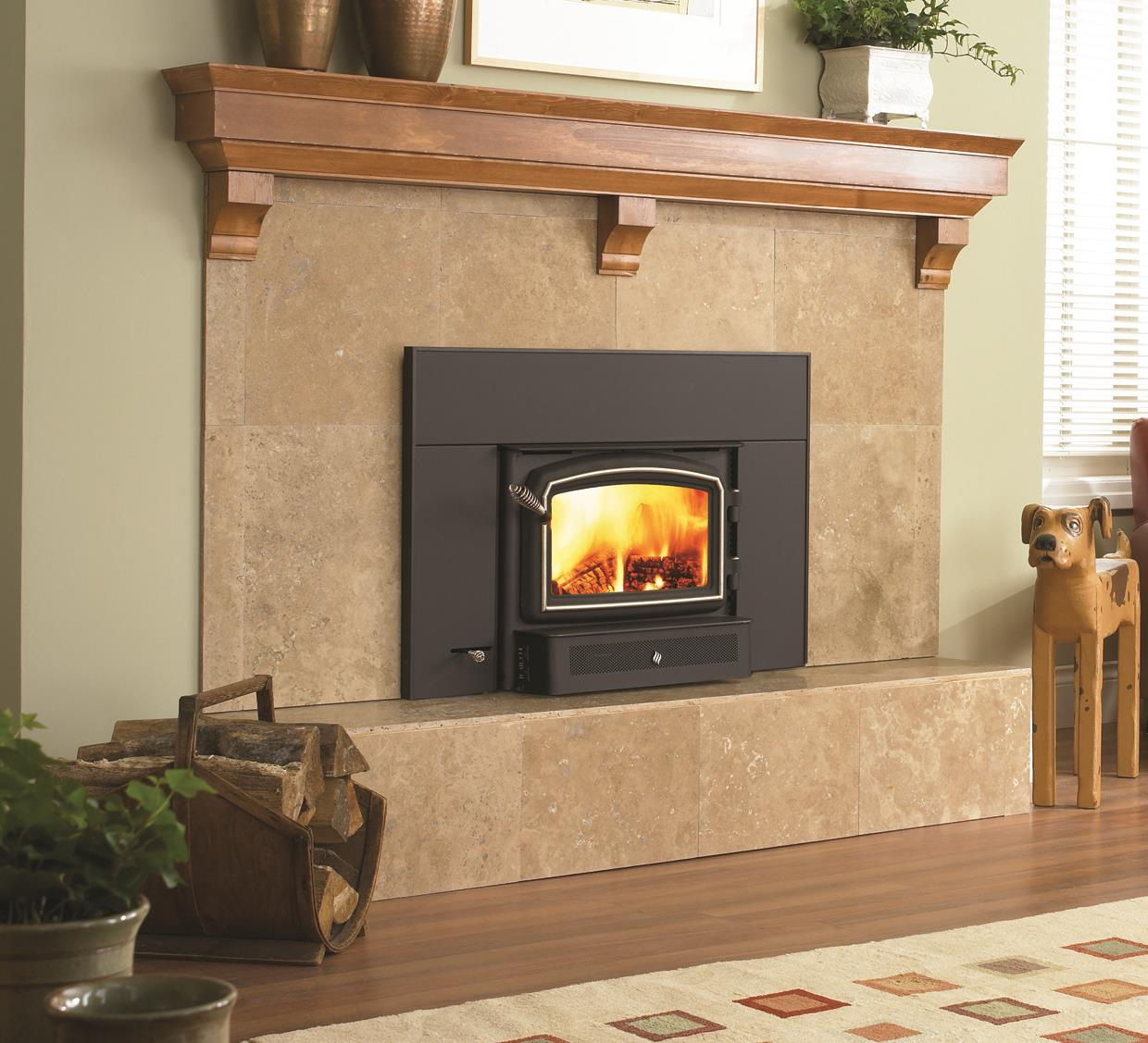 Wood inserts classic i1200 kastle fireplace for Prefab fireplace inserts