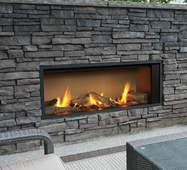 L1 Outdoor Series Gas Fireplace With 1555LFB Adjustable Finishing Trim In  Black, 1520FSL Fluted Sand