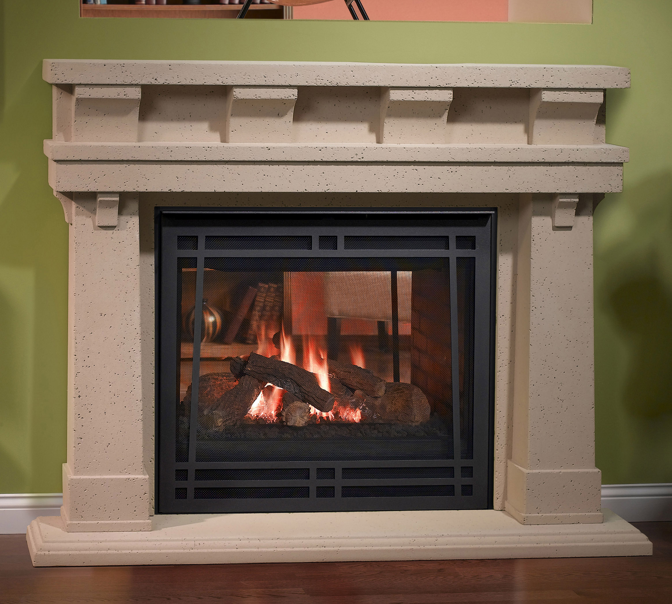 Gas fireplaces see through kastle fireplace for Craftsman gas fireplace