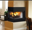 3-sided (peninsula) wood fireplace with a flush face design for custom style installation.