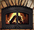 High-efficiency woodburning fireplace that can heat a room of up to 2,500 square feet.