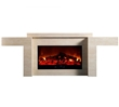 Modern electric fireplace in a Zen-inspired polished beige marble-like frame.