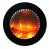 Circular modern electric fireplace that converts to a mirror when the flames are turned off.