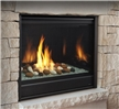 """Modern direct vent gas fireplace available in 36"""" and 42"""" widths and your choice of river rocks or glass media in several colours."""