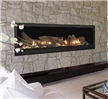 "Linear direct vent gas fireplace with a 70"" wide viewing area."