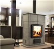 Soapstone masonry wood fireplace.