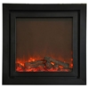 Electric fireplace with a stylish double surround and a standard remote control.