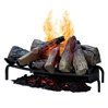 Non-heating electric log set with the OptiMyst 3-D flame technology, creating the illusion of a real wood fire.