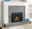 Clean front gas fireplace insert.