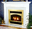 White surround mantel.