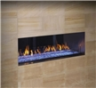 See-through contemporary outdoor gas fireplace.