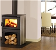 Contemporary wood stove for small spaces.