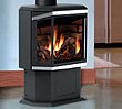 Direct vent gas stove can be configured for your choice of heat outputs (33,000 BTU/hour or 40,000 BTU/hour)