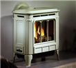 Medium-sized direct gas stove with a cast iron exterior.  Available in seaside sand enamel (pictured) and charcoal grey.