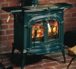 Compact catalytic environmentally friendly wood stove.