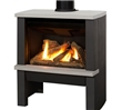 Contemporary freestanding direct vent gas stove.