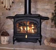 Top venting 29-inch direct vent cast iron stove for use in larger rooms.