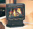 U38 B-vent freestanding gas stove shown with optional gold-panelled glass door and black louvres.